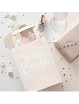 Team Bride Pink Party Bags with Handles