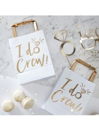 I DO CREW White and Gold Foiled Party Bags