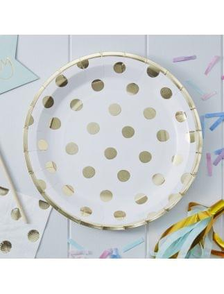 Gold Foiled Polka Dot Paper Plates Pack of 8