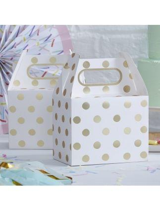 Gold Foiled Polka Dot Party Boxes Pack of 5