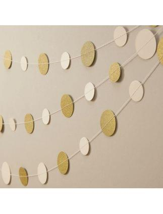 Ivory and Gold Glitter Circle Garland