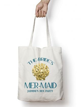 Mermaid Shell Personalised Hen Party Tote Bag