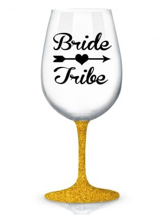 Glitter Bride Tribe Wine Glass
