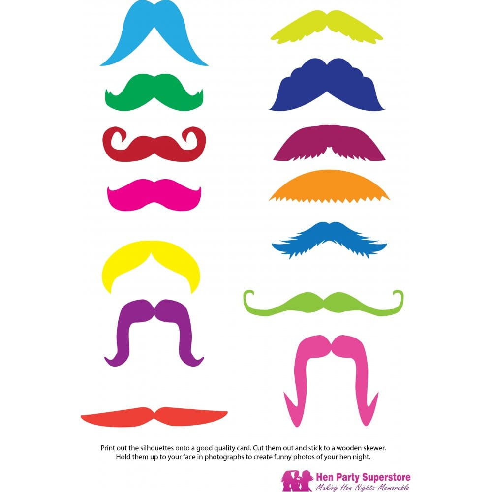 photo regarding Printable Moustaches identified as Colored Moustache Templates Bird Bash Superstore