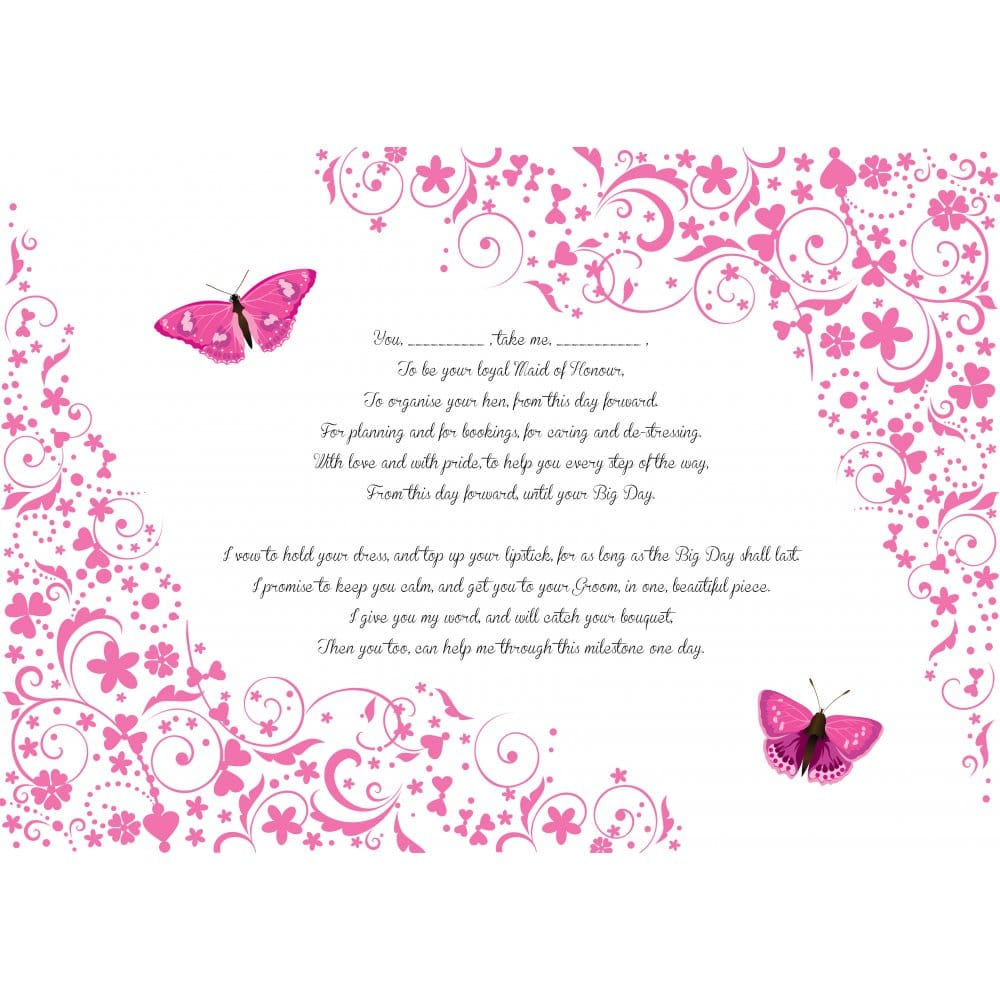 Hen Party Poem - Maid of Honour Vows | Hen Party Superstore