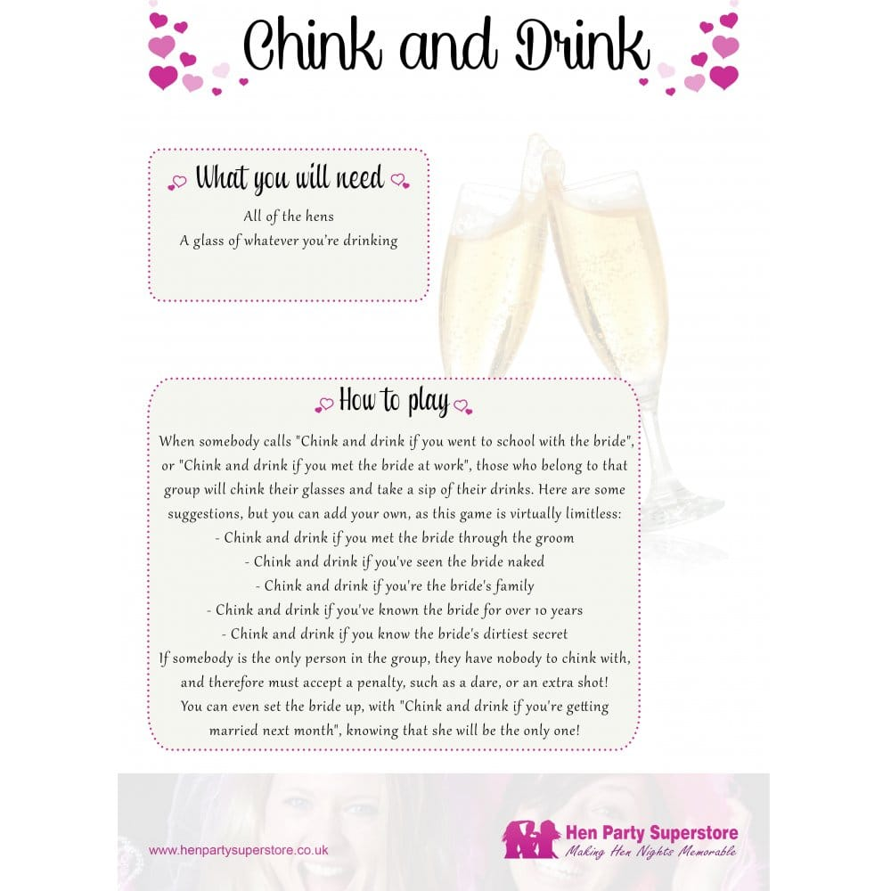 Chink & Drink Free Hen Party Game