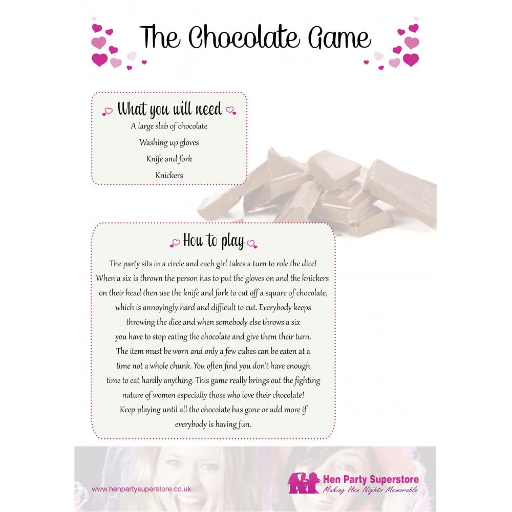 Free Hen Party Chocolate Game