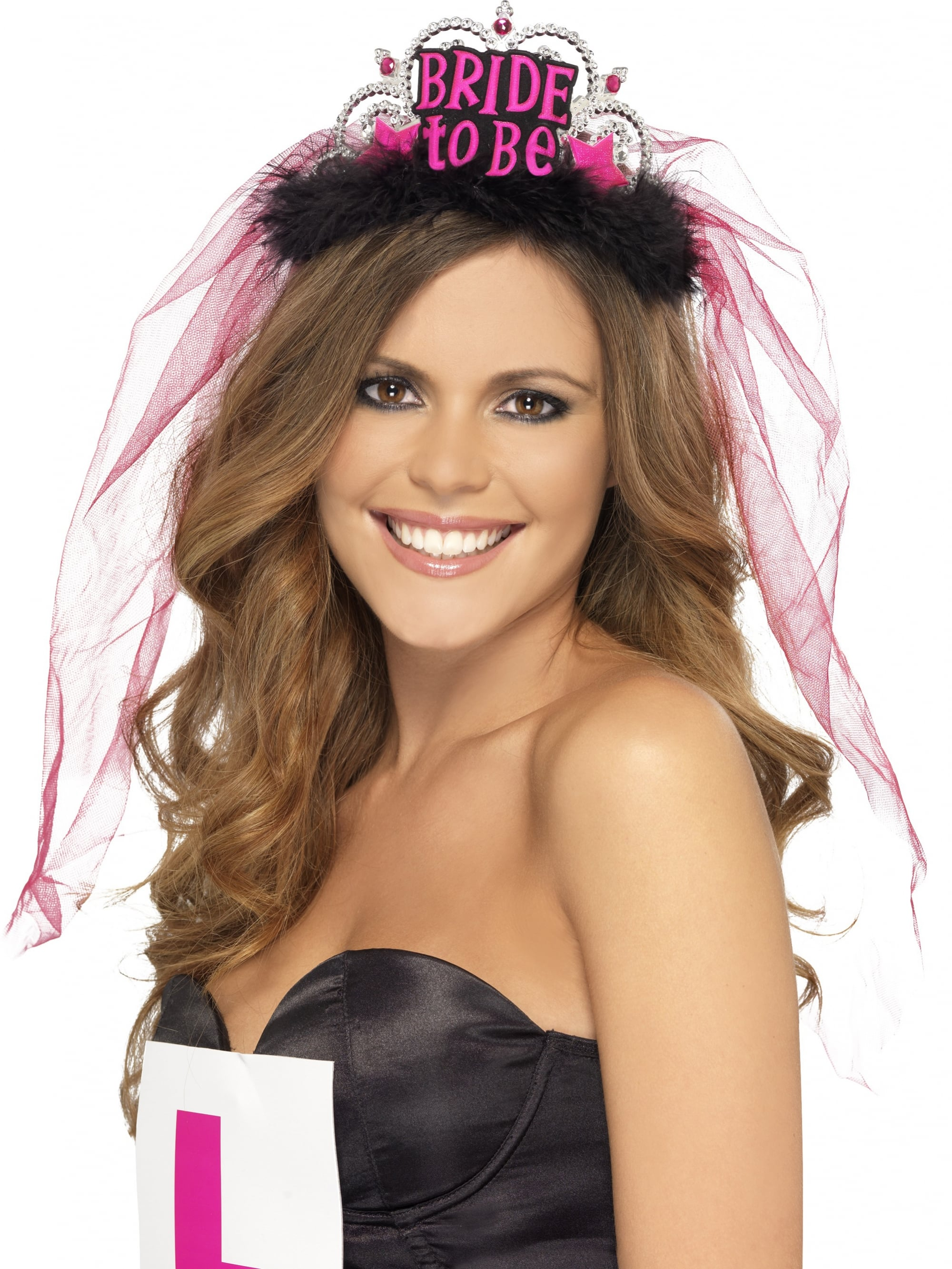 Bridal tiaras and veils - Bride To Be Tiara With Pink Veil