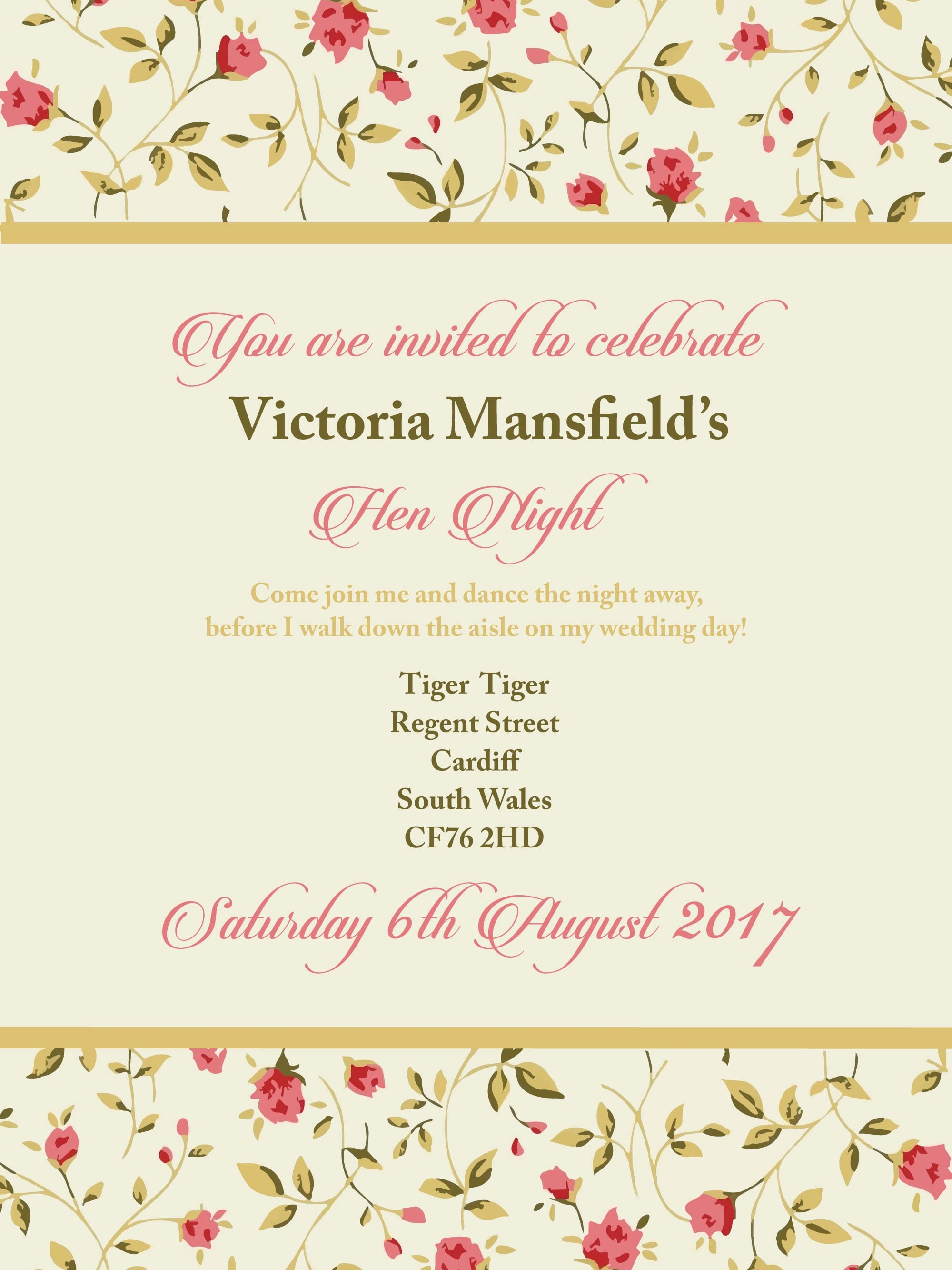 Hen Party Invitation PDF Vintage Style | Hen Party Superstore