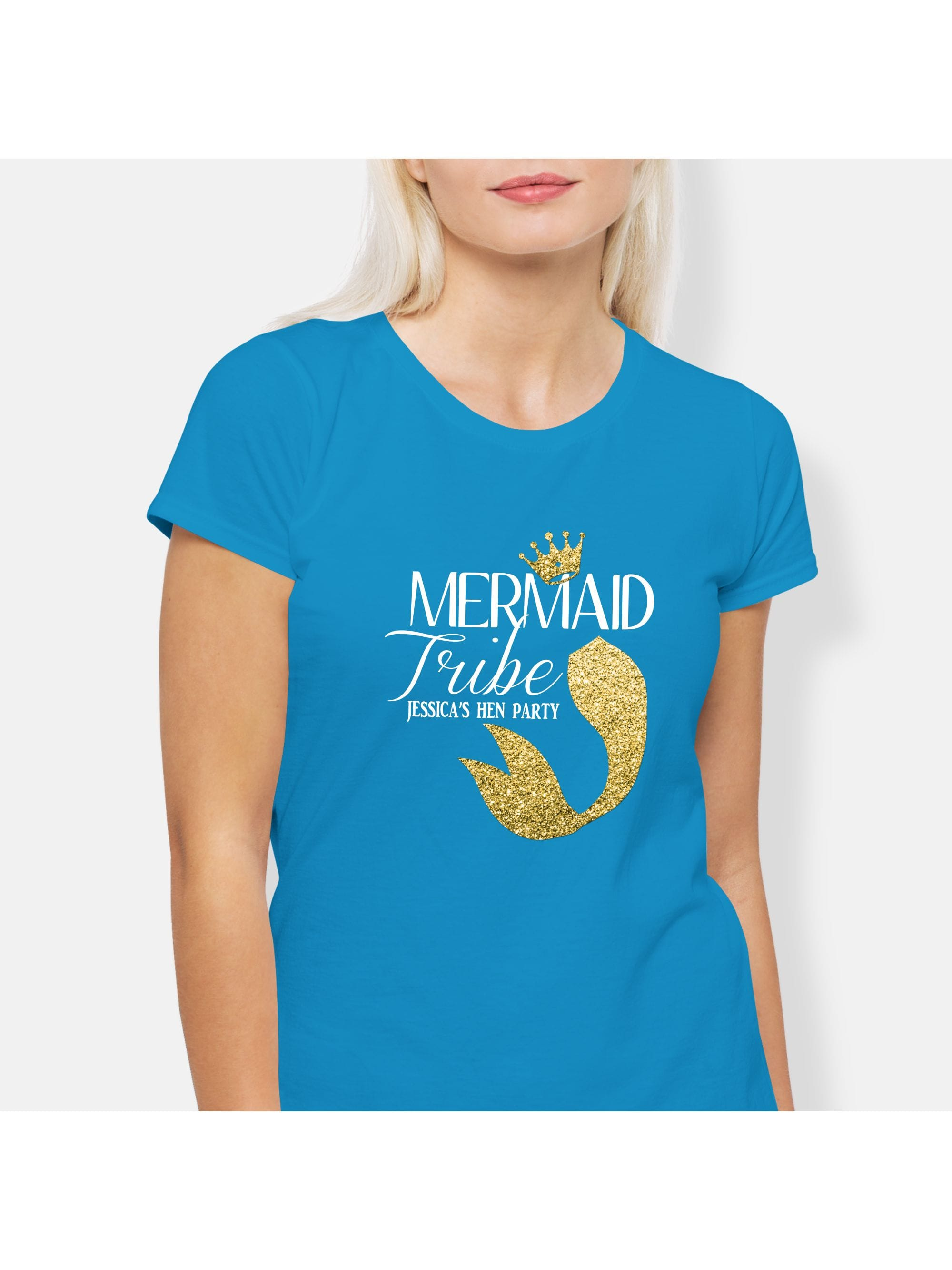 5a56c40b0ea9 Mermaid Tail Personalized Hen Party T-Shirts | Hen Party Superstore