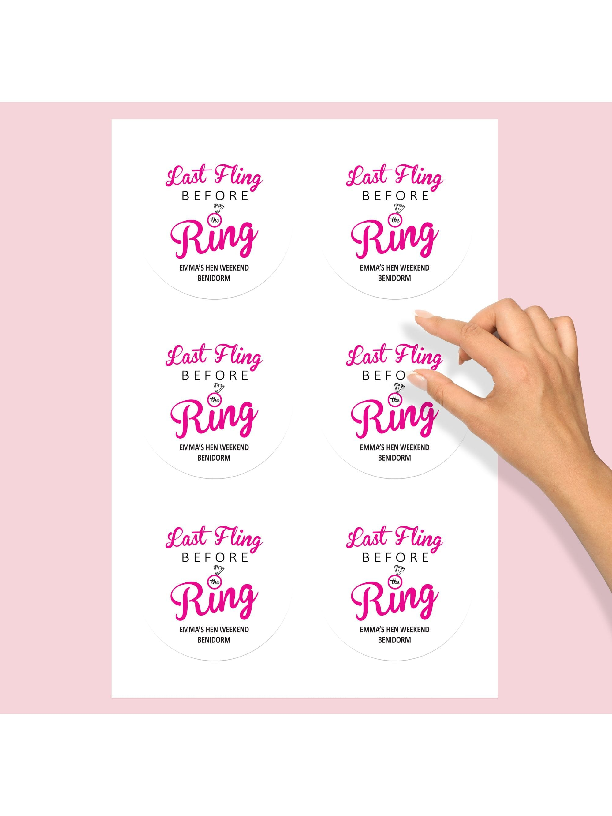 He Put A Ring On It Personalised Hen Party Stickers Metallic Gold Pack of 12