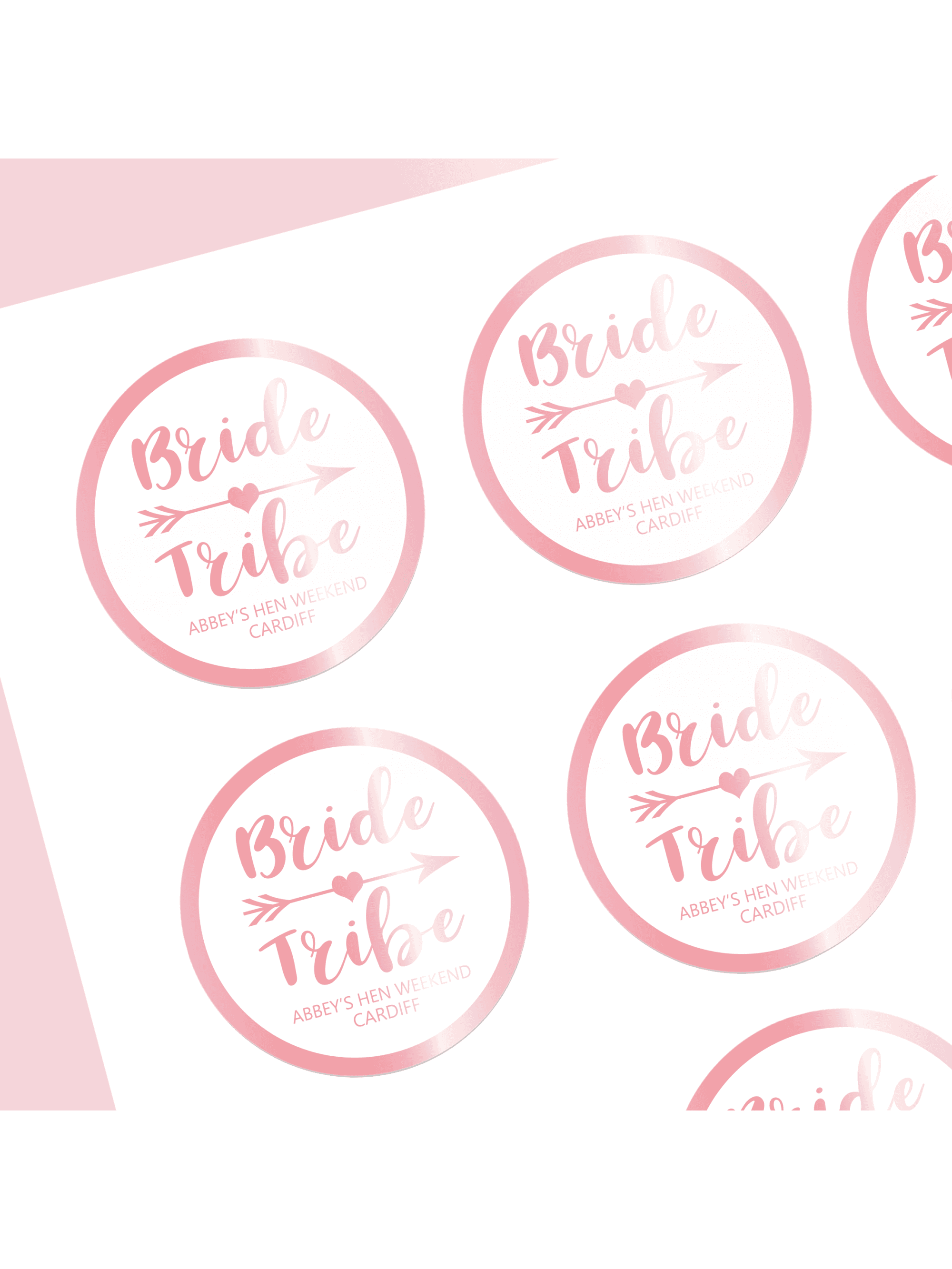 Hen party superstore bride tribe rose gold and white personalised stickers pack of 12