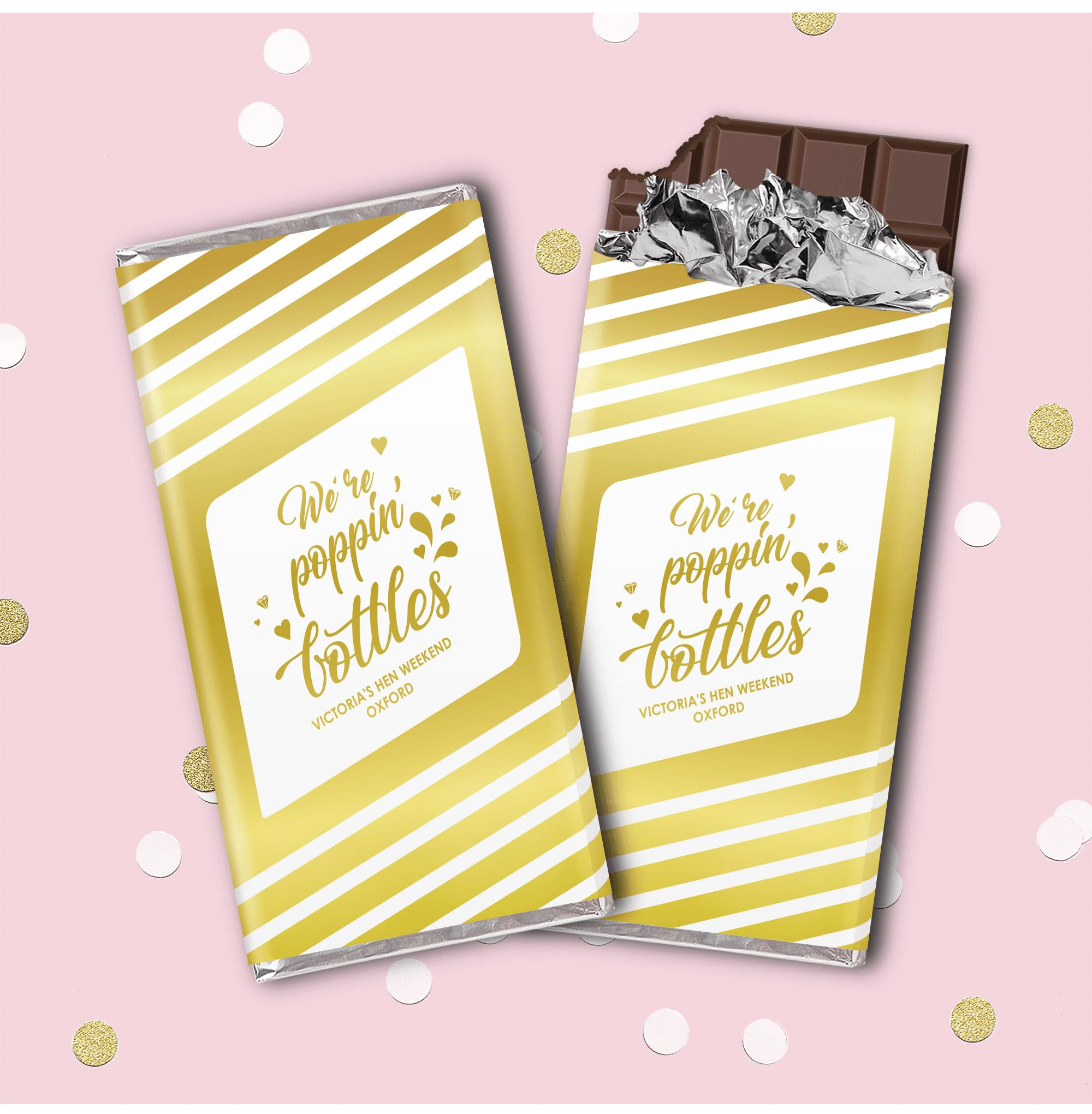 Hen Party Superstore Poppin' Bottles Personalised Chocolate Bar Metallic  Gold